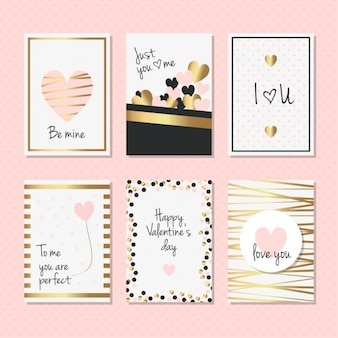 Elegant cards with golden details for valentines day