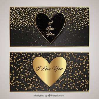 Elegant cards with hearts and confetti