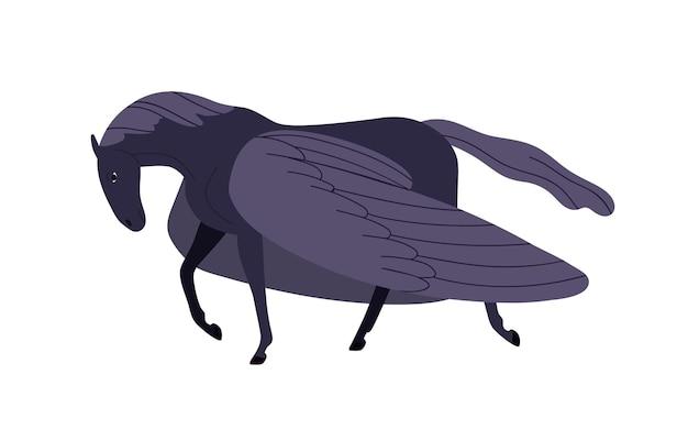 우아한 만화 검은 페가수스 벡터 평면 그림입니다. 흰색 배경에 고립 된 날개를 가진 신화적인 말 캐릭터. 발굽과 컬러 판타지 중세 영웅입니다.