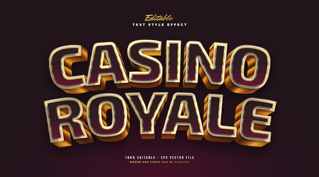 Elegant casino royale text style in purple and gold with 3d effect. editable text style effect