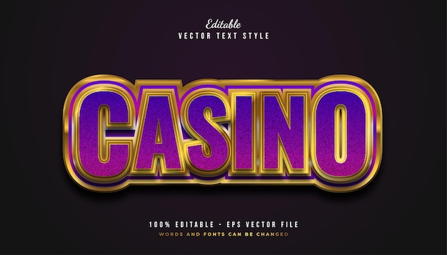 Elegant casino text style in purple and gold with embossed effect