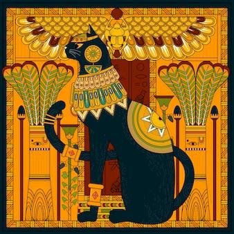 エジプトスタイルのエレガントな猫のぬりえページのデザイン