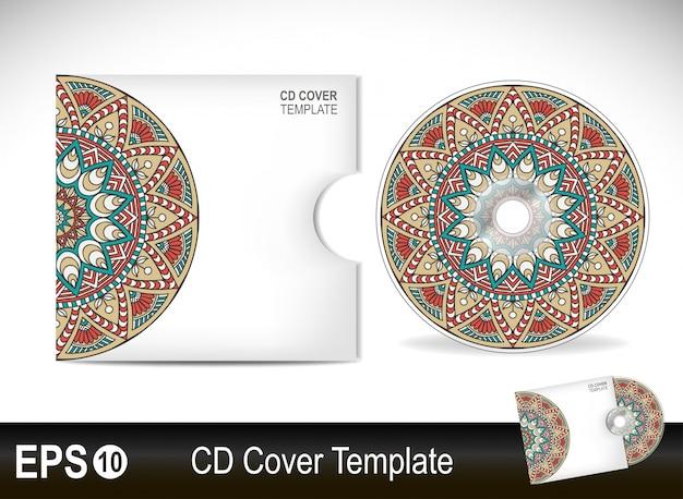 Дизайн шаблона крышки cdvector иллюстрации в этническом стиле