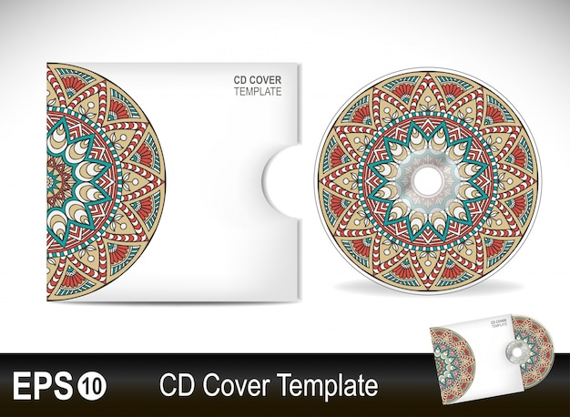 Elegant cd cover template in mandala style