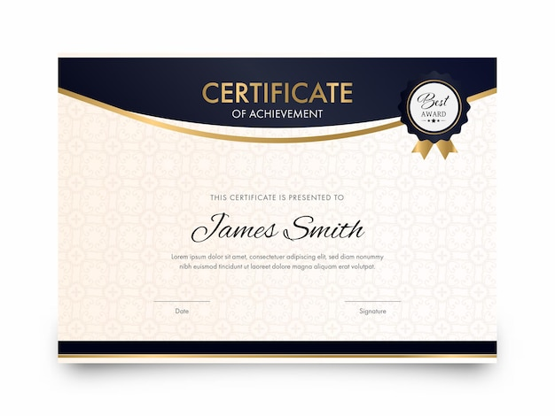 Elegant certificate of achievement award template design.