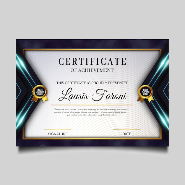 Elegant certificate achievement template design