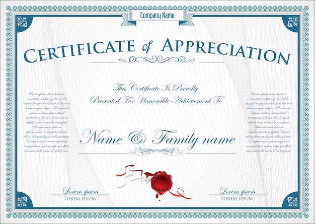 Elegant certificate or diploma retro vintage design