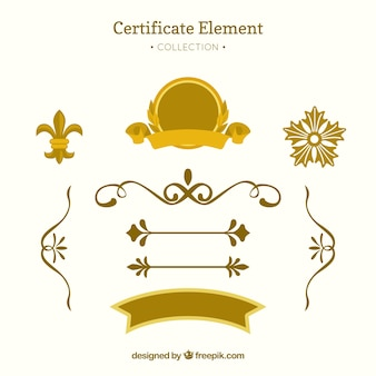 Elegant certificate element collection with flat design