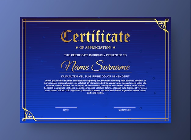 Elegant certificate in modern blue