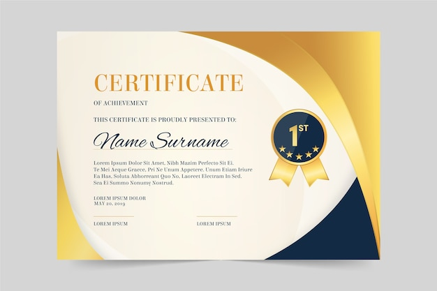 Elegant certificate for recognition template