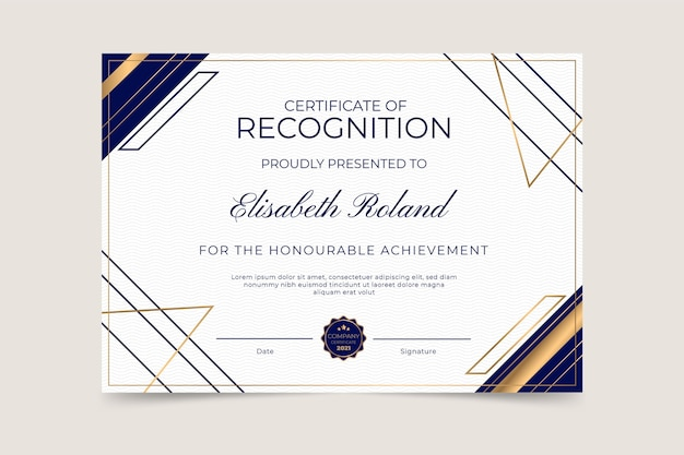 Elegante modello di certificato di riconoscimento