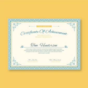 Elegant certificate template achievement