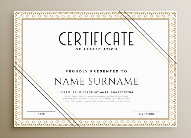 Elegant certificate template in gold theme