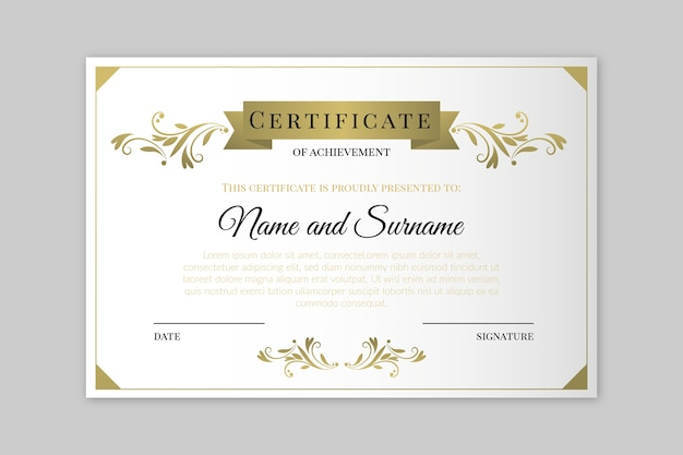 Elegant certificate template style