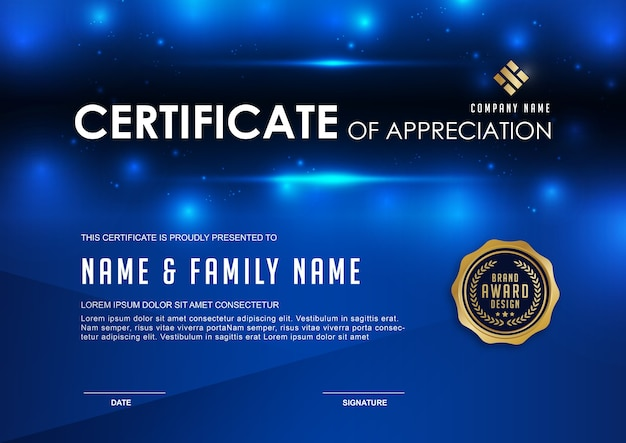 Elegant certificate template with blue details