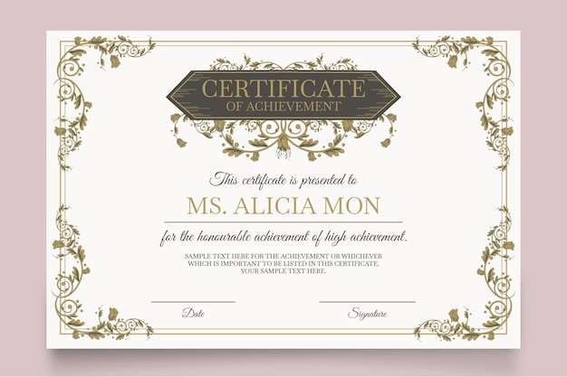Elegant certificate template with different ornaments