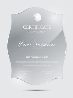 Elegant certificate template with glass material frame
