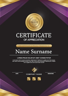 Elegant certificate template with gold details