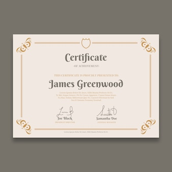 Elegant certificate template with golden borders