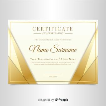 Elegant certificate template with golden design