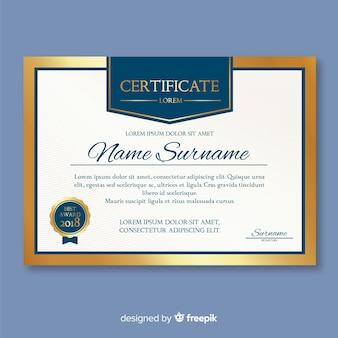 Elegant certificate template with golden elements