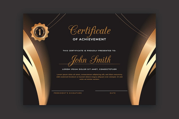 Elegant certificate template with golden elements
