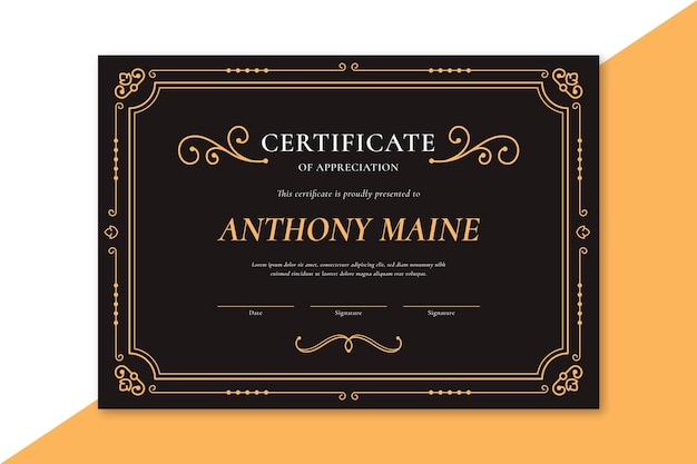 Elegant certificate template with golden ornaments