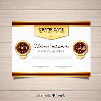 Elegant certificate template with golden style