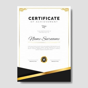 Elegant certificate template with golden subtle frame