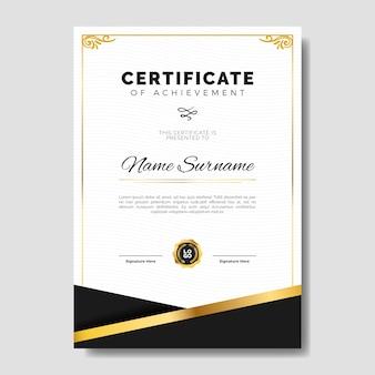 Modello di certificato elegante con cornice sottile dorata