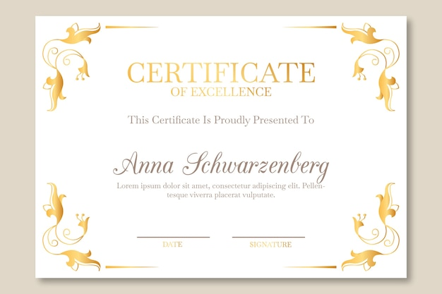 Elegant certificate template