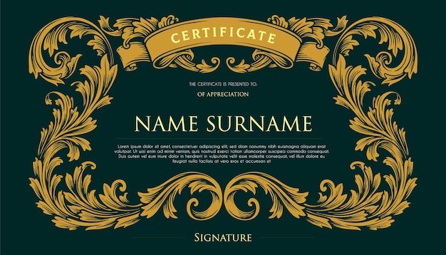Elegant certificate vintage swirls design illustrations