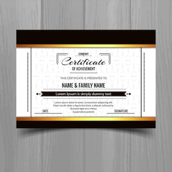 Elegant certificate with black and golden shapes
