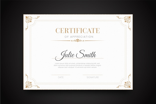Elegant certificate with frame template