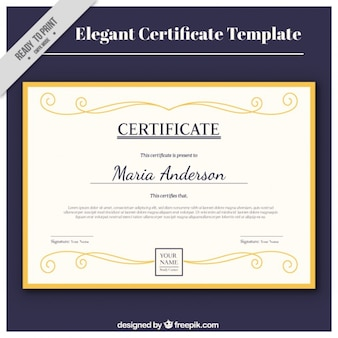 Elegant certificate with a golden frame