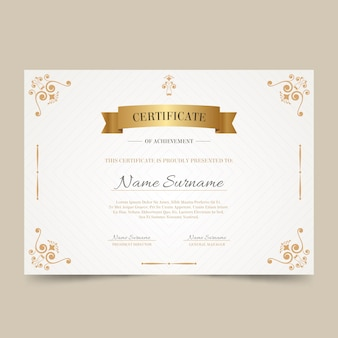 Elegant certificate with golden frame
