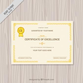 Certificato elegante con bordi ornamentali