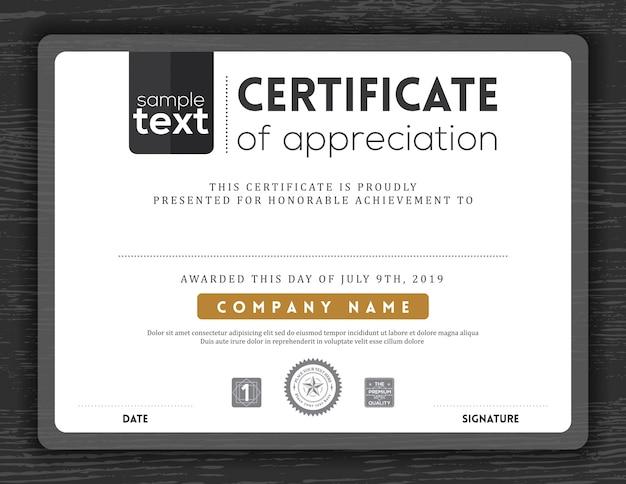 Semplice certificato in bianco e nero di apprezzamento confine modello sfondo cornice