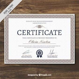 Certificato elegante