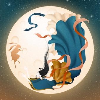 Элегантный чанъэ и нефритовый кролик, летящий по небу при полной луне, иллюстрация фестиваля середины осени