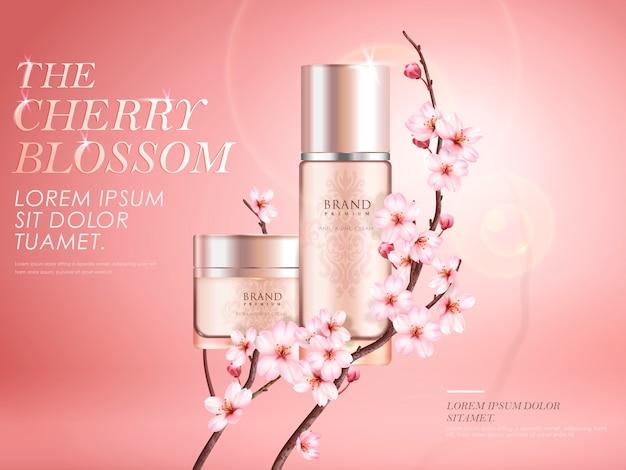 エレガントな桜の化粧品の広告、桜の枝を持つ2つの絶妙なコンテナー、図のピンクの背景に日光の効果
