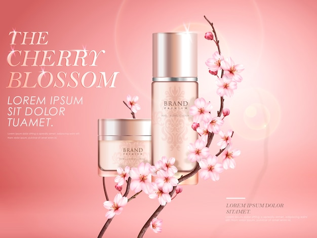 Elegant cherry blossom cosmetic ads, two exquisite containers with sakura branches and sunlight effect  on pink background in  illustration
