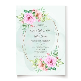 Elegant cherry blossom invitation card template