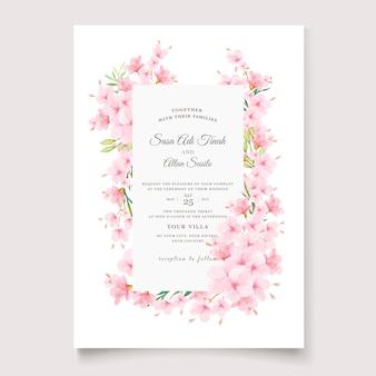 Elegant cherry blossom invitation card template
