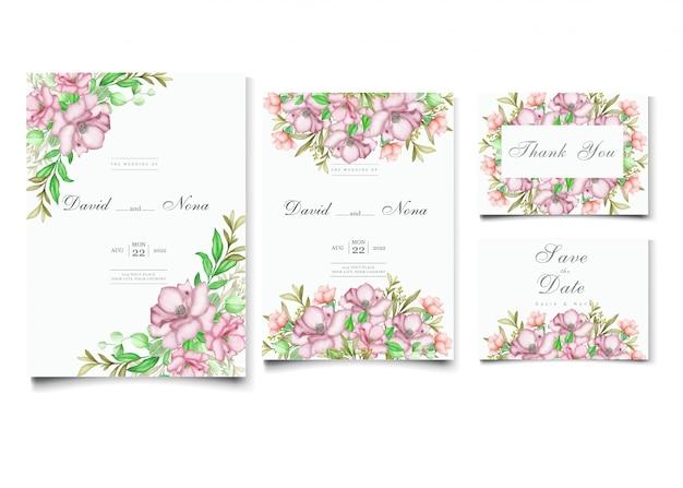 Elegant cherry blossom wedding invitation card template set