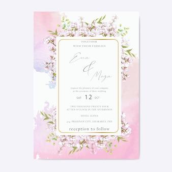 Elegant cherry blossom wedding invitation template