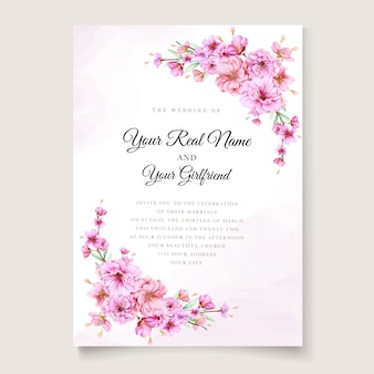 Elegant cherry blossom wedding invitation template