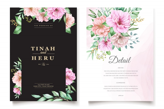 Elegant cherry blossom wedding invitation theme