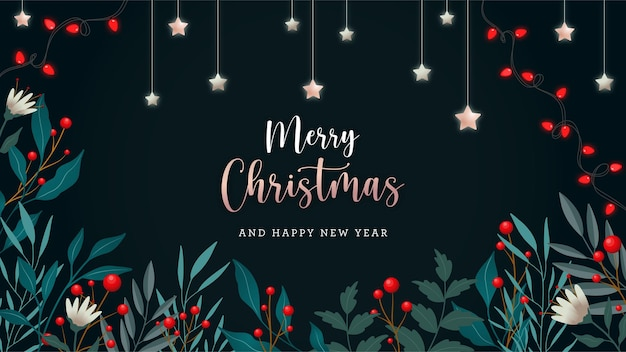 Elegant christmas background concept with hand drawn nature