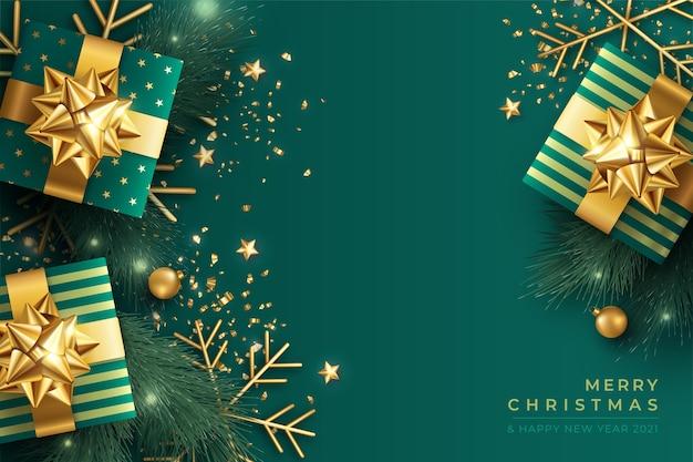 녹색과 황금의 우아한 크리스마스 배경